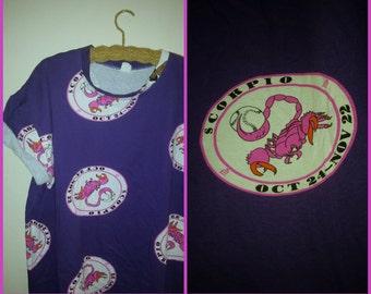 80s Zodiac Oversized TShirt Scorpio Shirt Plus Size
