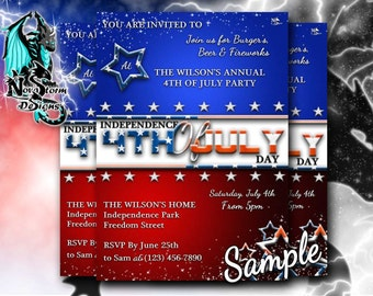 Personalised 4th of July Invites - Independence Day - Fourth of July Party (Digital File)