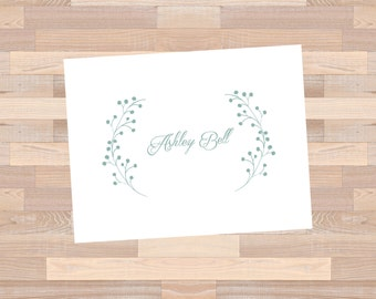 Personalized Fold Over Note Card : set of 12 cards + envelopes