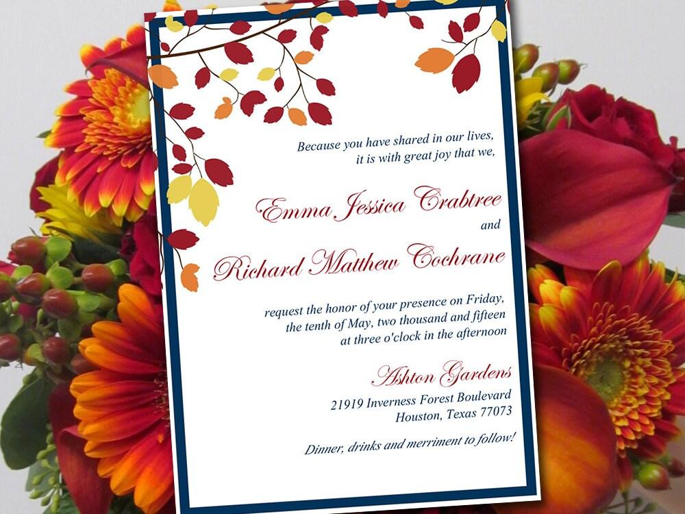 Fall Wedding Invitation Wording: Autumn Wedding Invitation Template Muskoka