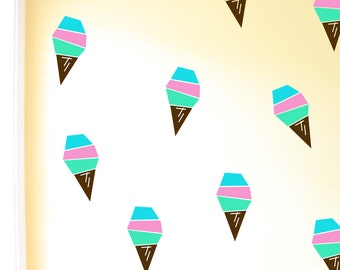 Ice Cream Cone Decals. Geometric Wall Decor. Vinyl Decals. Ice Cream Decals. Wall Decal. Wall sticker. Nursery decals.