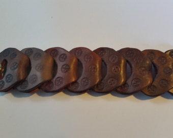 Brown leather link bracelet