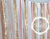 Pink & Gold Sparkle Sequin Fabric Backdrop with Lace - Wedding Garland, Photo Prop, Curtain, Baby Shower, Crib Garland
