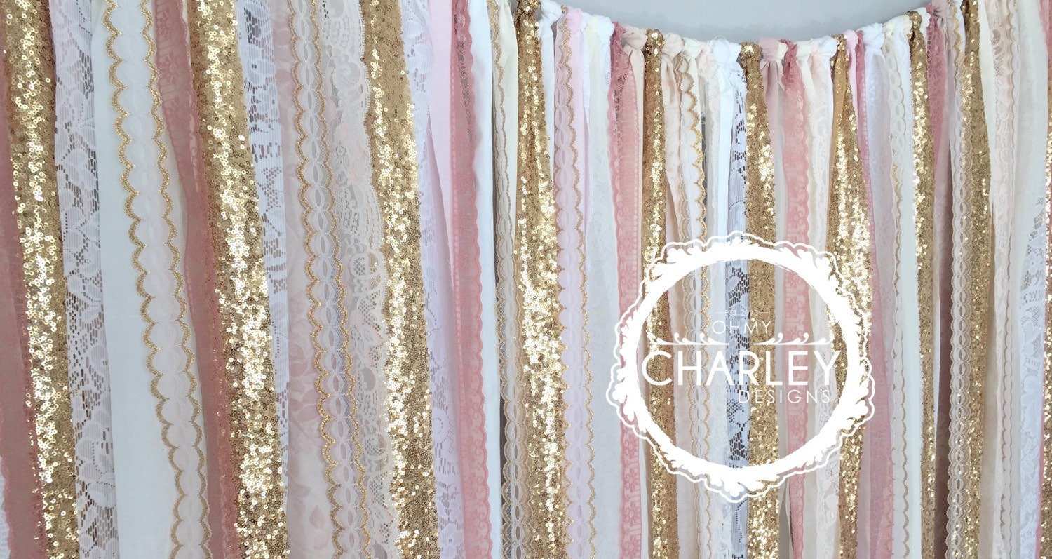 pink and gold shower curtain.  zoom Pink Gold Sparkle Sequin Fabric Backdrop with Lace Wedding