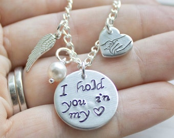 I hold you in my heart - I carry you with me - Miscarriage Jewelry - Miscarriage Bracelet - E. E. Cummings  Holding Hands Gift for Angel Mom
