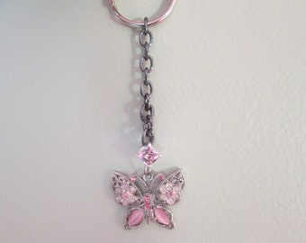 Pink Butterfly jeweled keychain