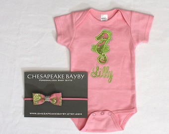 Personalized handmade goods for your little by chesapeakebayby baby girl coming home outfit monogrammed baby shower gift lilly pulitzer inspired onepiecenewborn layette negle Images