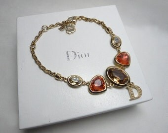 Authentic Christian Dior Glass Rhinestone Crystal D Logo Charm Bracelet