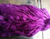 Recycled Sari silk ribbon - Multicolour Dark Purple