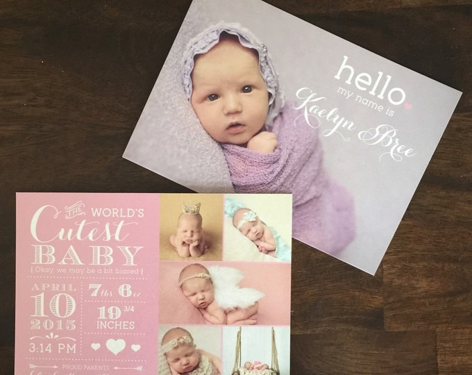 5x7 Photo Custom Baby Gutl Birth Announcement in Pink with Birth Stats