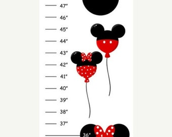 ON SALE Personalized Mickey Minnie Canvas Growth Chart