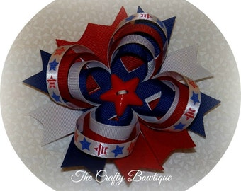 Patriotic Stars Bow ~ Patriotic Loopy Bow ~ 4th of July Bow ~ Memorial Day Bow ~ Red, White & Blue Bow ~ Patriotic Headband Bow ~ Large Bow