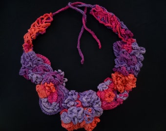 Colorful, crochet necklace