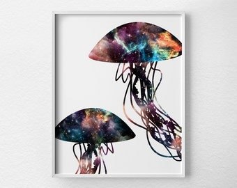 Jellyfish Art, Jellyfish Print, Jellyfish Poster, Space Print, Ocean Art, Bathroom Art, Nautical Decor, Nebula Art, Jellyfish Decor, 0379