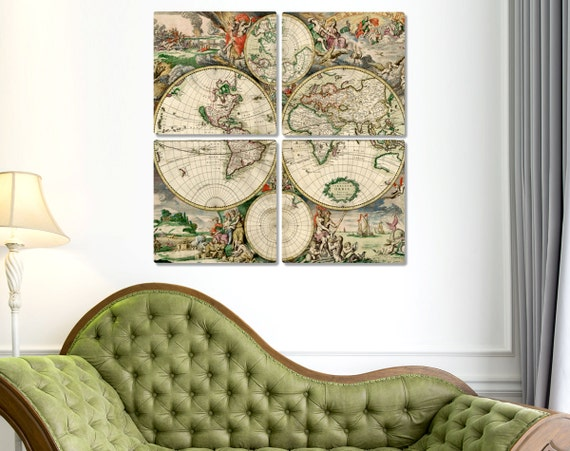 Old World Map Canvas Print Antique Canvas World Map Large