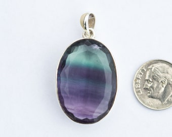 Fluorite Pendant - Natural Purple Banded Green Fluorite Necklace - Purple Banded Green Fluorite Pendant - Green Fluorite streaks of Purple