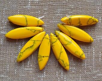 Dyed Yellow Howlite Olivary Beads