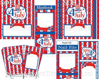 4th OF July- Party Pack - Wrappers, Toppers, Party Hats,Cupcake Toppers, digital party downloadable