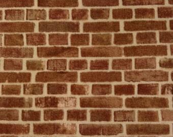 One Fat Quarter of Fabric Material - European Taupe Bricks