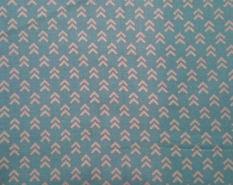 Cream Arrows on a Turquoise Background - Cotton Fabric