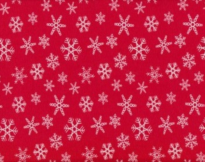 Red Snowflakes - 95/5 Cotton Lycra Jersey Fabric