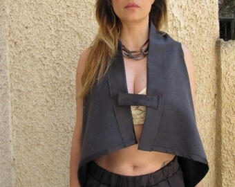 Gray draped Waterfall front cardigan, Asymmetric vest, Sleeveless minimal cardigan,Satin trimmed cropped vest