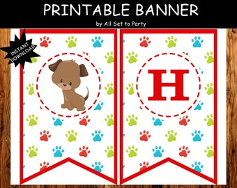 Puppy Birthday Banner, Puppy Party Decorations, Puppy Theme, Dog Happy Birthday Banner, Instant Download, Party Printables