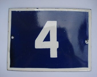 Enamel Vintage Number Street Sign Made in Bulgaria/ Small Enamel House Number Sign 3/ Blue and White Porcelain Cute Wall Hanging