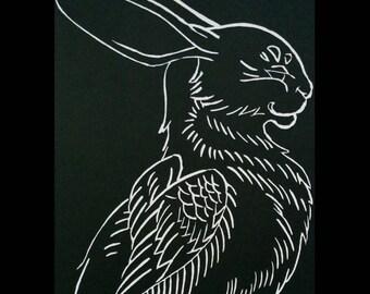 Raven Winged Rabbit greeting cards by Angel Hawari