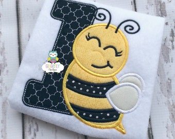 Bee Birthday Theme Girl Birthday Number Shirt or Bodysuit, First Birthday, Bee Birthday Theme
