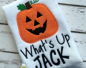 What's Up Jack Halloween Shirt or Bodysuit, Pumpkin Shirt, Halloween Shirt, Trick or Treat, Boy Halloween Shirt, Halloween Shirt for Boy