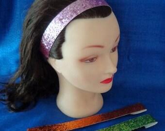3 Ladies Sparkling Glitter Headbands Headwraps Pink Headband Green Headband Orange Headband