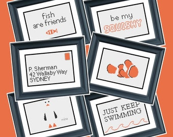 6 Patterns - Finding Nemo - Disney Pixar - PDF Cross-Stitch Pattern