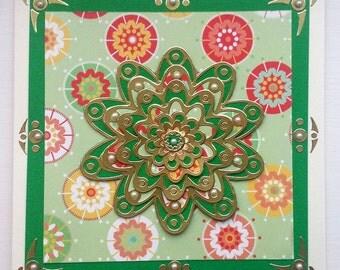 Green and Gold Mandala greetings card