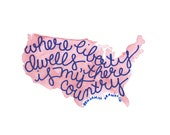 Where Liberty Dwells Patriotic America Ben Franklin Quote Watercolor Art Print PDF Instant Digital Download 8.5 x 11 and 8 x 10