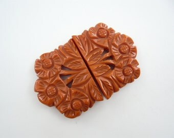 LARGE Chunky Vintage Carved & Pierced Bakelite Floral Belt Buckle