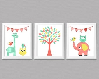 Blau gr n und braun kinderzimmer art print set 8 x 10 baby for Kinderzimmer set baby