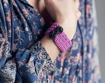 Crochet Organic Cotton Wrist Band, Crochet Bracelet in Magenta, Button Crochet Bracelet, Gift for Her