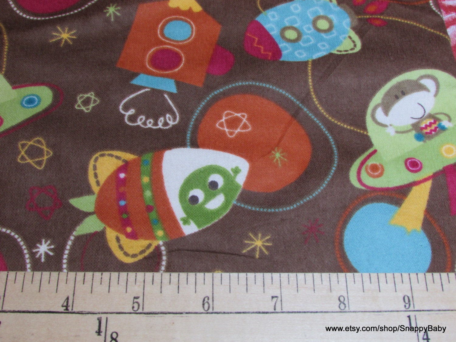 Flannel fabric monkey space ship 1 yard 100 cotton for Space flannel