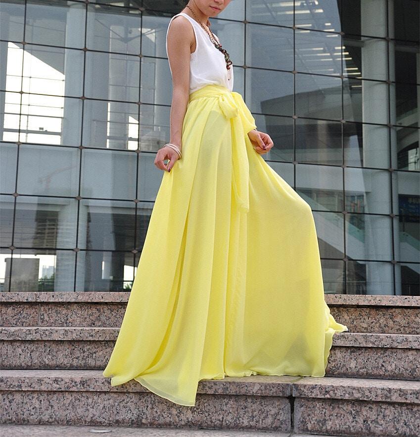Yellow maxi skirt | Etsy