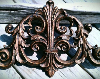 Fleur De Lis Architectural Accent for The Wall, Very Ornate Home Decor, Can be Painted to Order