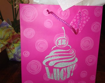 Birthday Cupcake - Personalized Large Gift Bag - Laser Cut