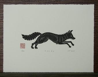 Fox Linocut Print // Handmade // Original // Limited Edition