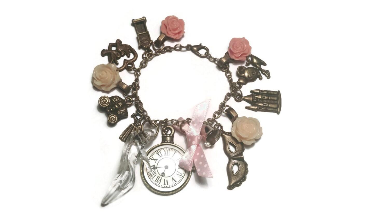 cinderella themed charm bracelet fairytale by jicsisjewellery