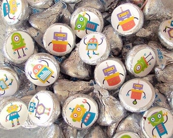 Robot Party, Candy Stickers - Chocolate, Kiss Candy Stickers, Candy Labels - Printed, Party Favors