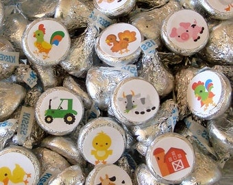 Barnyard Animals - Candy Favor Stickers, Hershey Kiss Candy Labels - Farm Animals, Party Favor, Printed
