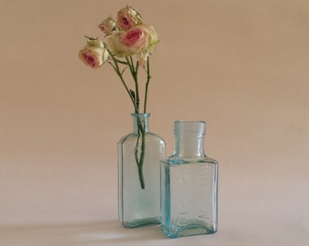American vintage pharmacy glass bottles