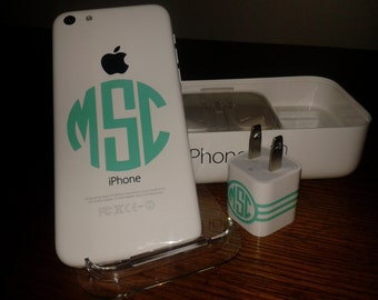 Cell phone monorgam decals for iphones and chargers.  Set of 3 iphone monogram decals.