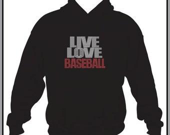 Baseball Sweatshirt/ Baseball Hoodie/ Rhinestone Baseball/ Live Love Baseball Hoodie Sweatshirt/ Baseball Gifts