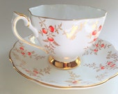 Queen Anne Tea Cup and Saucer, English Tea Set, Teacup and Saucer, Antique Tea Cups, Teacups and Saucers, China Tea Cups, White Gold Cups